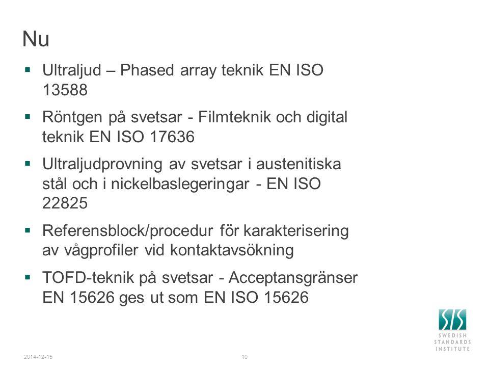 2014-12-1510 Nu  Ultraljud – Phased array teknik EN ISO 13588  Röntgen på svetsar - Filmteknik och digital teknik EN ISO 17636  Ultraljudprovning a