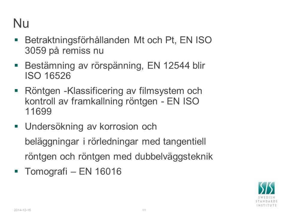 2014-12-1511 Nu  Betraktningsförhållanden Mt och Pt, EN ISO 3059 på remiss nu  Bestämning av rörspänning, EN 12544 blir ISO 16526  Röntgen -Klassif