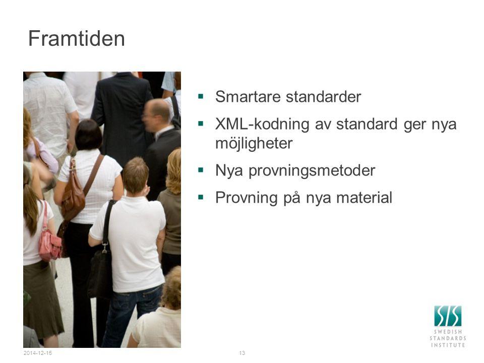 2014-12-1513 Framtiden  Smartare standarder  XML-kodning av standard ger nya möjligheter  Nya provningsmetoder  Provning på nya material