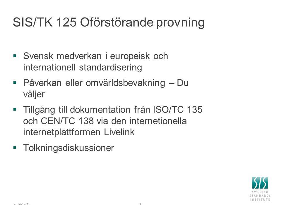 2014-12-154 SIS/TK 125 Oförstörande provning  Svensk medverkan i europeisk och internationell standardisering  Påverkan eller omvärldsbevakning – Du