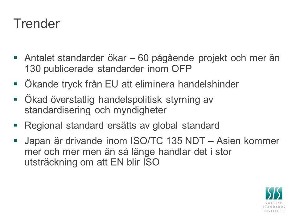 Trender  Antalet standarder ökar – 60 pågående projekt och mer än 130 publicerade standarder inom OFP  Ökande tryck från EU att eliminera handelshin