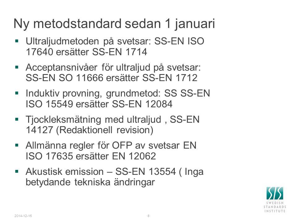 2014-12-159 Nu  Ultraljud – Grundmetod och utvärderingsmetoder, EN 583-serien samt utrustningsstandard föreslås som ISO standard  Automatiserad UT - Val och tillämpning a metod, ISO/TR16829  Ultraljudprovning av svetsar i rörledningar av polyetenplast  Stegblock för kalibrering av UT