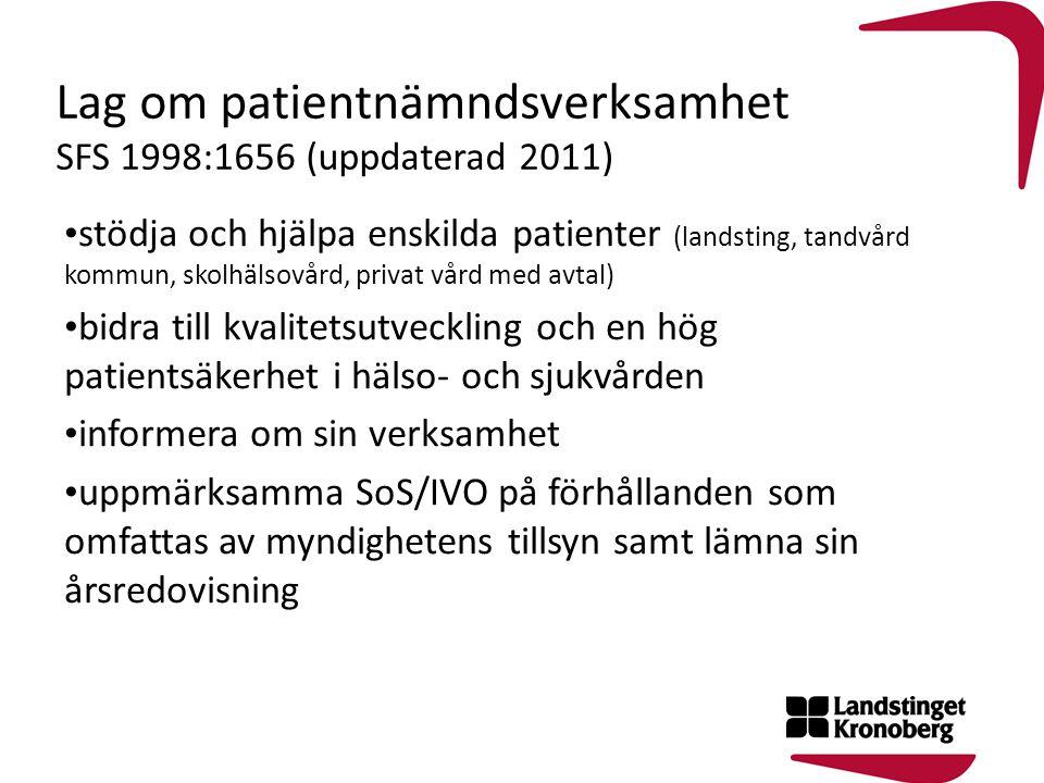 Lag om patientnämndsverksamhet SFS 1998:1656 (uppdaterad 2011) stödja och hjälpa enskilda patienter (landsting, tandvård kommun, skolhälsovård, privat