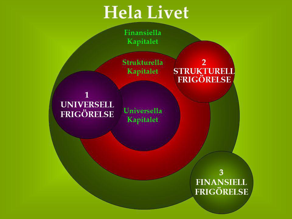 Universella Kapitalet Strukturella Kapitalet Finansiella Kapitalet Hela Livet 2 STRUKTURELL FRIGÖRELSE 3 FINANSIELL FRIGÖRELSE 1 UNIVERSELL FRIGÖRELSE