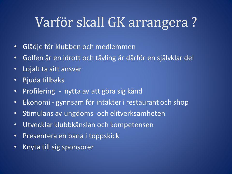 Varför skall GK arrangera .