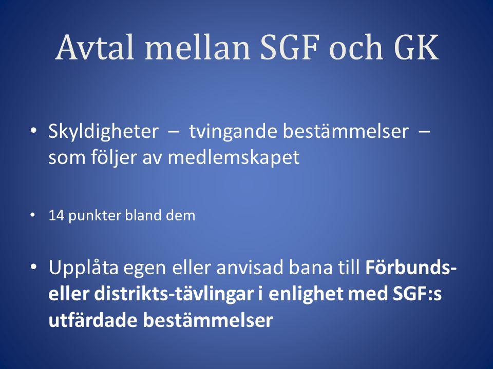Avtal mellan SGF och GK Skyldigheter – tvingande bestämmelser – som följer av medlemskapet 14 punkter bland dem Upplåta egen eller anvisad bana till Förbunds- eller distrikts-tävlingar i enlighet med SGF:s utfärdade bestämmelser