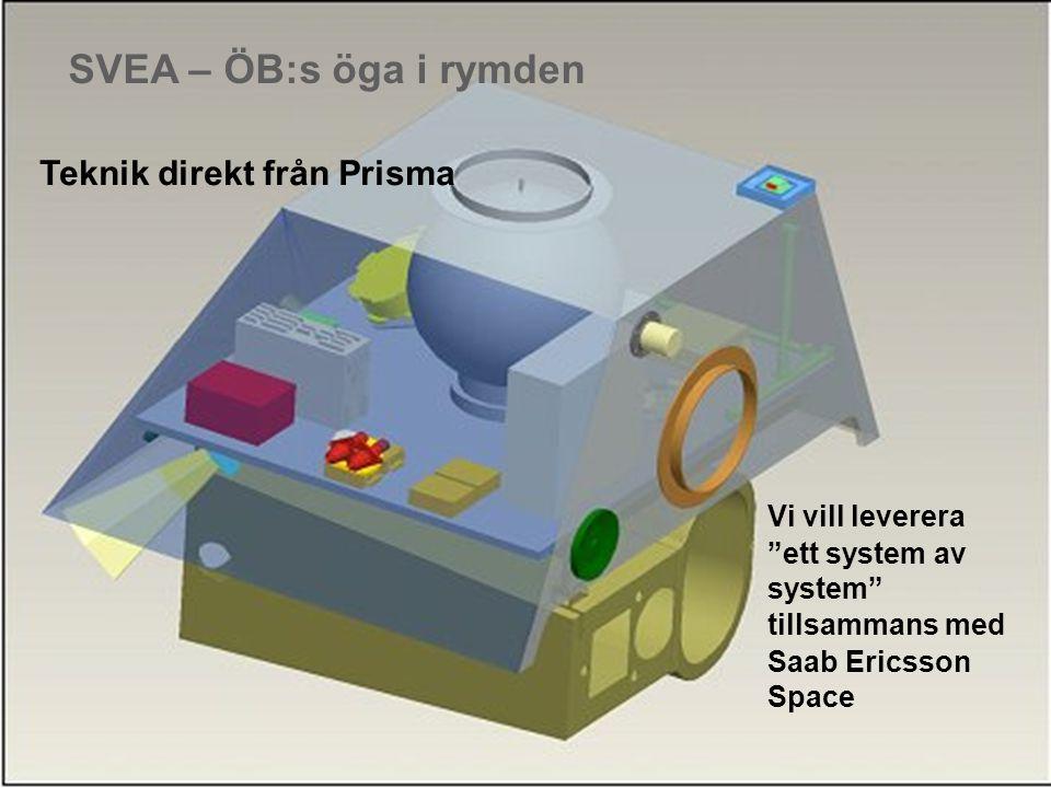 SVEA – ÖB:s öga i rymden Vi vill leverera ett system av system tillsammans med Saab Ericsson Space Teknik direkt från Prisma