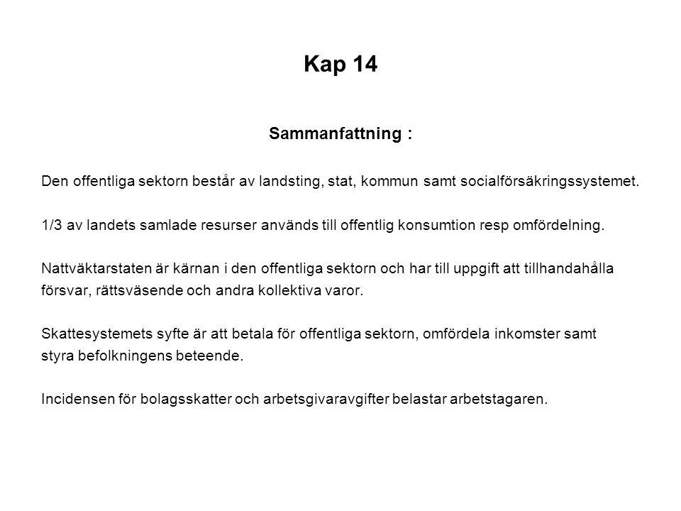 Kap 14 Sammanfattning : Den offentliga sektorn består av landsting, stat, kommun samt socialförsäkringssystemet.