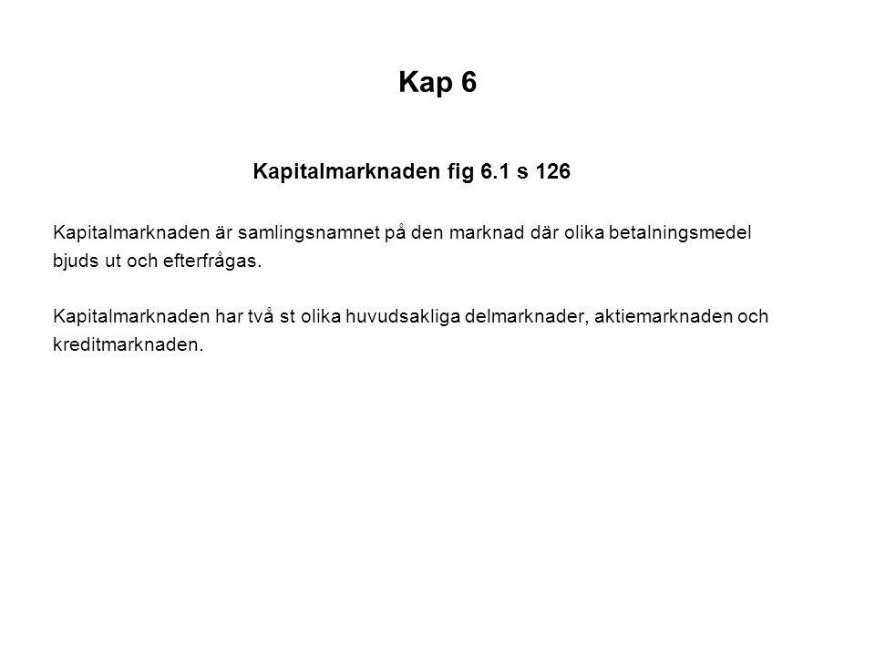 Kap 6 Kapitalmarknaden fig 6.1 s 126 Kapitalmarknaden är samlingsnamnet på den marknad där olika betalningsmedel bjuds ut och efterfrågas.
