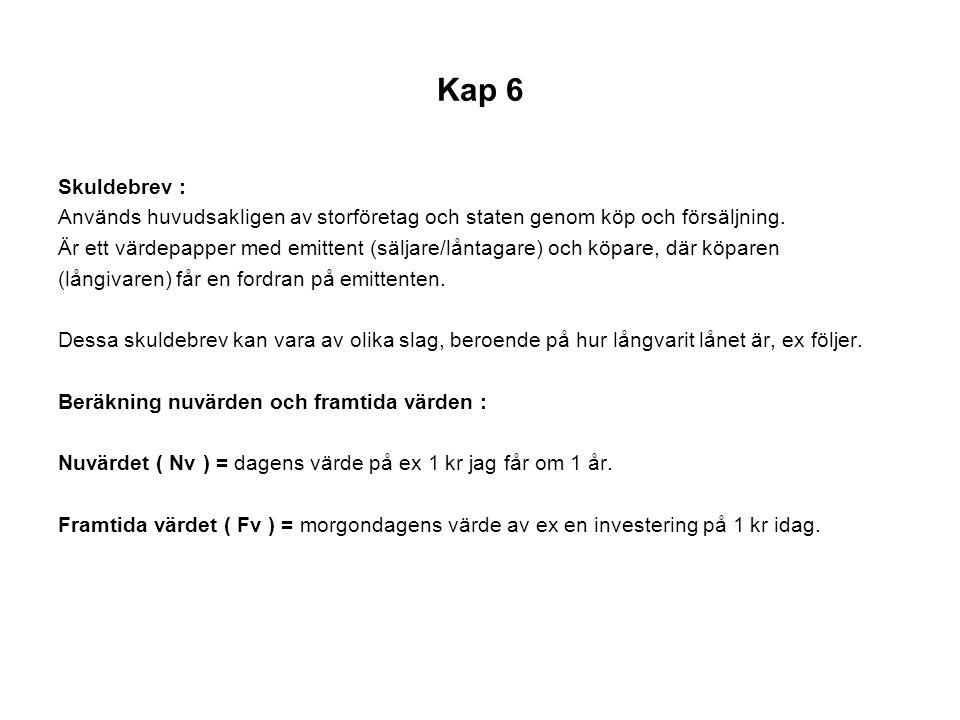 Kap 6 Skuldebrev : Används huvudsakligen av storföretag och staten genom köp och försäljning.