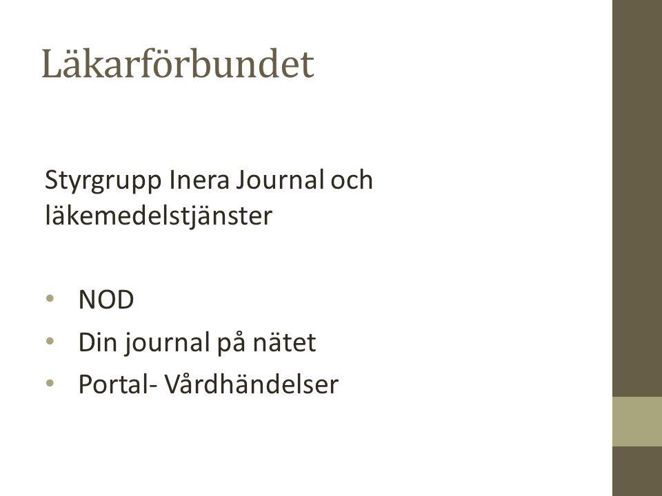 Läkarförbundet Styrgrupp Inera Journal och läkemedelstjänster NOD Din journal på nätet Portal- Vårdhändelser