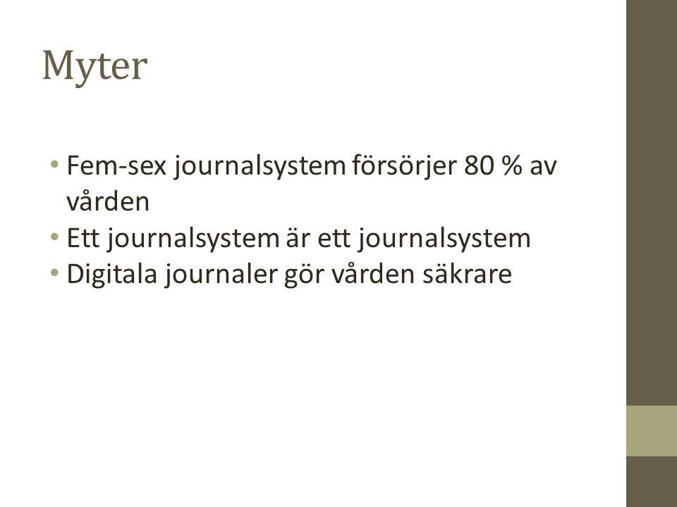 Myter Fem-sex journalsystem försörjer 80 % av vården Ett journalsystem är ett journalsystem Digitala journaler gör vården säkrare
