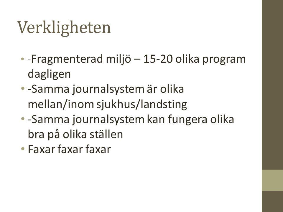 Verkligheten - Fragmenterad miljö – 15-20 olika program dagligen -Samma journalsystem är olika mellan/inom sjukhus/landsting -Samma journalsystem kan