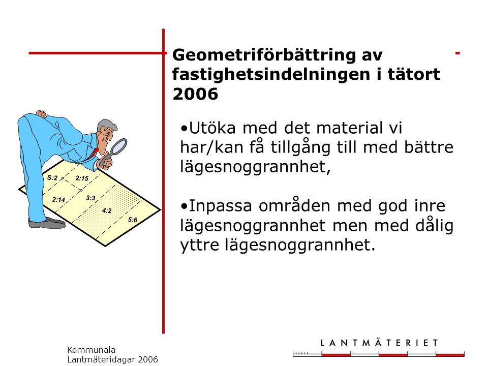 Kommunala Lantmäteridagar 2006 Geometriförbättring av fastighetsindelningen i tätort 2006 S:2 2:14 2:15 3:3 5:6 4:2 Utöka med det material vi har/kan få tillgång till med bättre lägesnoggrannhet, Inpassa områden med god inre lägesnoggrannhet men med dålig yttre lägesnoggrannhet.