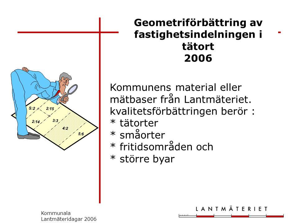 Kommunala Lantmäteridagar 2006 Geometriförbättring av fastighetsindelningen i tätort 2006 S:2 2:14 2:15 3:3 5:6 4:2 Kommunens material eller mätbaser från Lantmäteriet.