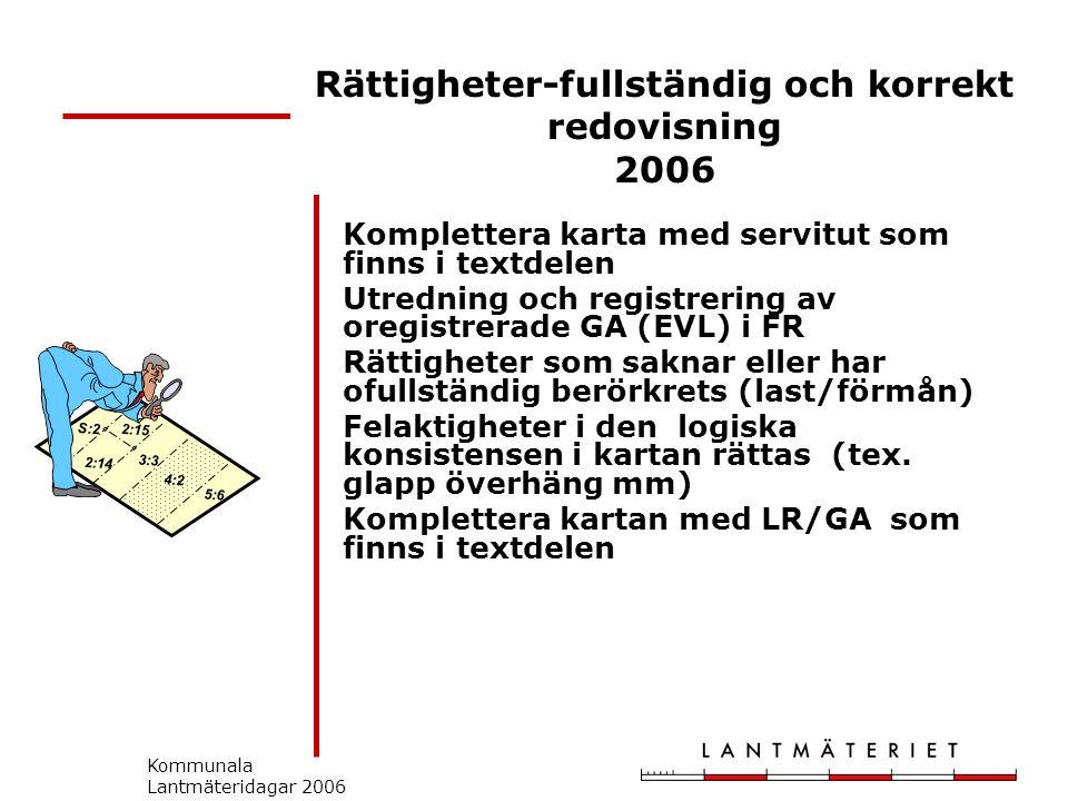 Kommunala Lantmäteridagar 2006 Rättigheter-fullständig och korrekt redovisning 2006 Komplettera karta med servitut som finns i textdelen Utredning och registrering av oregistrerade GA (EVL) i FR Rättigheter som saknar eller har ofullständig berörkrets (last/förmån) Felaktigheter i den logiska konsistensen i kartan rättas (tex.