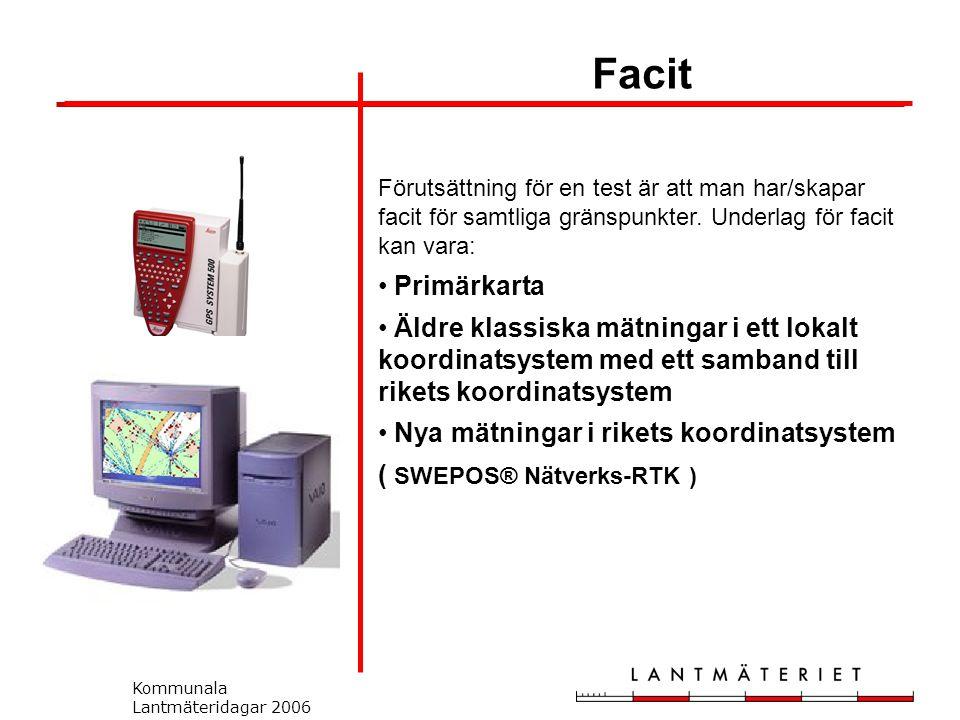 Kommunala Lantmäteridagar 2006 Förutsättning för en test är att man har/skapar facit för samtliga gränspunkter.