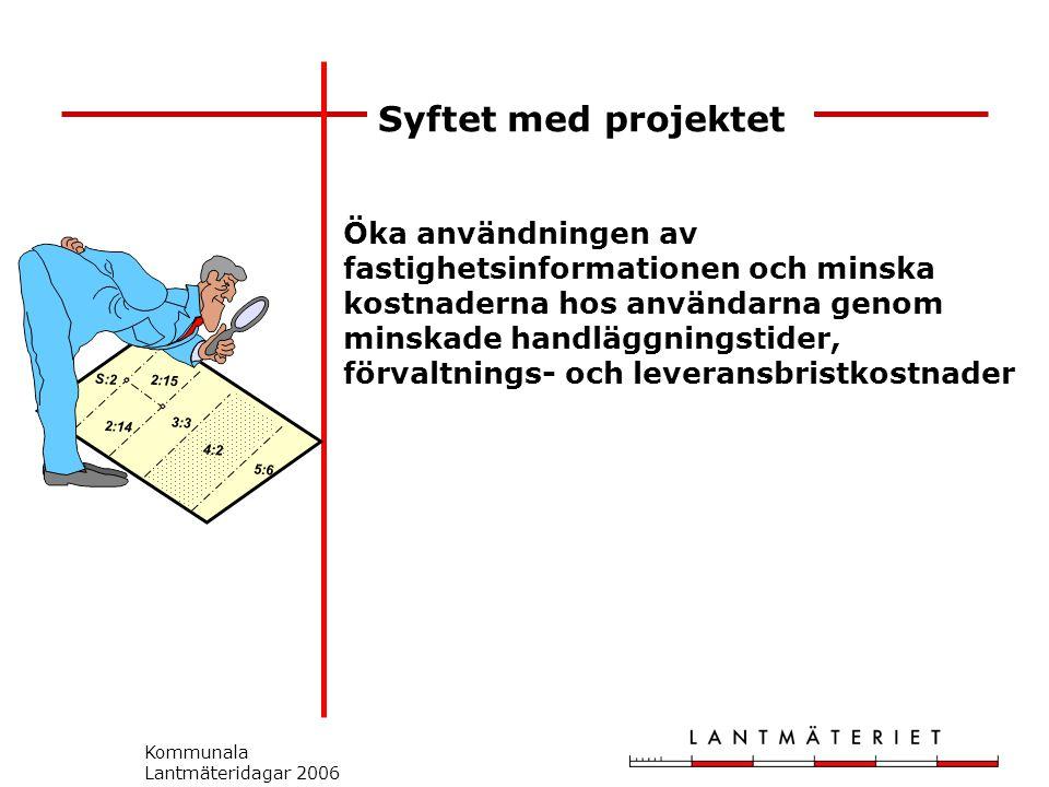 Kommunala Lantmäteridagar 2006 Syftet med projektet S:2 2:14 2:15 3:3 5:6 4:2 Öka användningen av fastighetsinformationen och minska kostnaderna hos användarna genom minskade handläggningstider, förvaltnings- och leveransbristkostnader