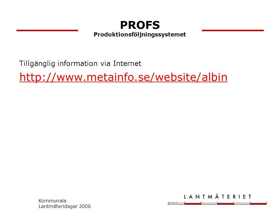 Kommunala Lantmäteridagar 2006 PROFS Produktionsföljningssystemet Tillgänglig information via Internet http://www.metainfo.se/website/albin