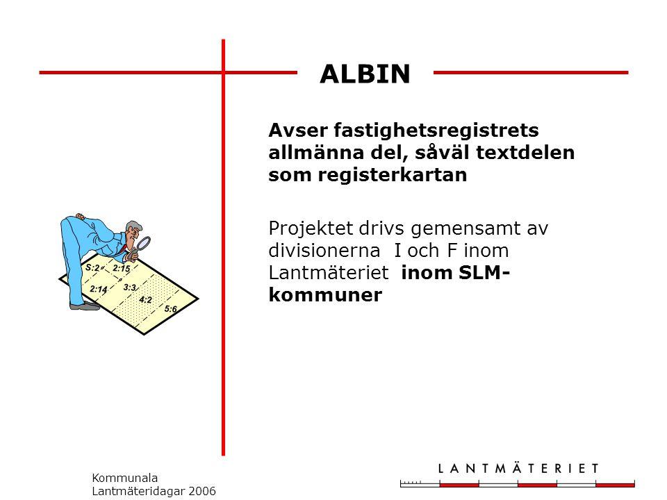 Kommunala Lantmäteridagar 2006 ALBIN Avser fastighetsregistrets allmänna del, såväl textdelen som registerkartan Projektet drivs gemensamt av divisionerna I och F inom Lantmäteriet inom SLM- kommuner S:2 2:14 2:15 3:3 5:6 4:2