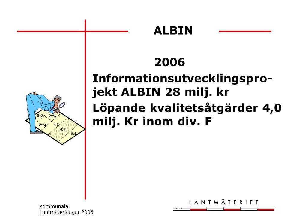 Kommunala Lantmäteridagar 2006 2006 Informationsutvecklingspro- jekt ALBIN 28 milj.