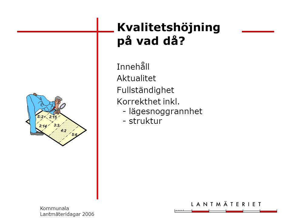 Kommunala Lantmäteridagar 2006 Kvalitetshöjning på vad då.