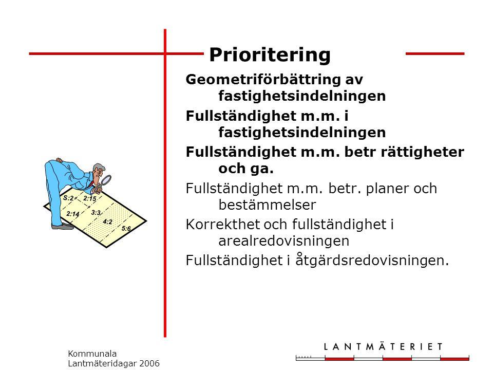 Kommunala Lantmäteridagar 2006 Prioritering Geometriförbättring av fastighetsindelningen Fullständighet m.m.
