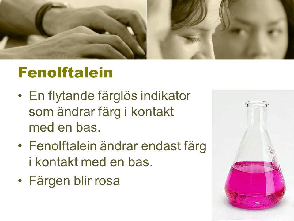 Fenolftalein En flytande färglös indikator som ändrar färg i kontakt med en bas.