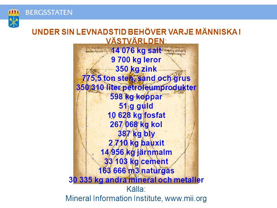 UNDER SIN LEVNADSTID BEHÖVER VARJE MÄNNISKA I VÄSTVÄRLDEN: 14 076 kg salt 9 700 kg leror 350 kg zink 775,5 ton sten, sand och grus 350 310 liter petroleumprodukter 598 kg koppar 51 g guld 10 628 kg fosfat 267 068 kg kol 387 kg bly 2 710 kg bauxit 14 956 kg järnmalm 33 103 kg cement 163 666 m3 naturgas 30 335 kg andra mineral och metaller Källa: Mineral Information Institute, www.mii.org