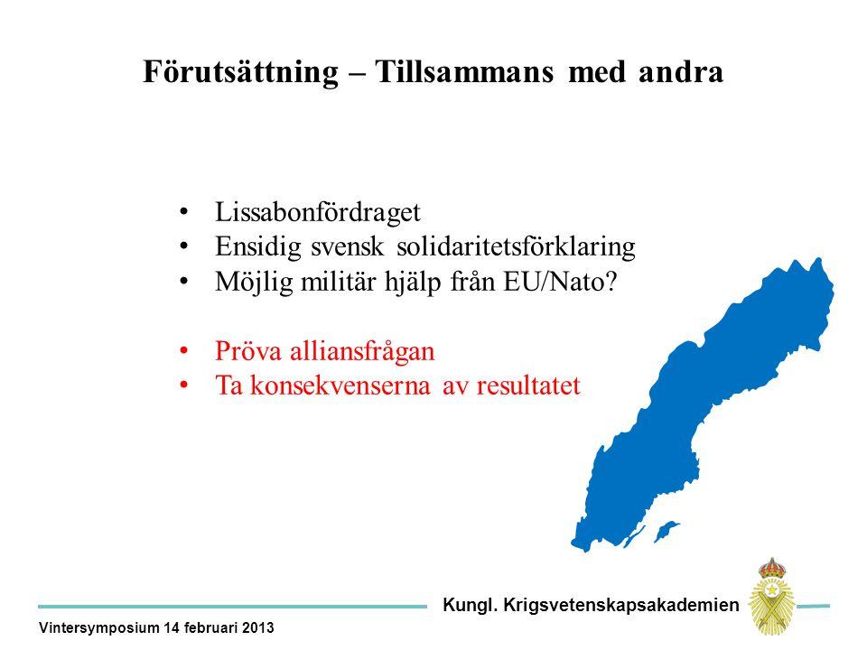 Förutsättning – Tillsammans med andra Lissabonfördraget Ensidig svensk solidaritetsförklaring Möjlig militär hjälp från EU/Nato.