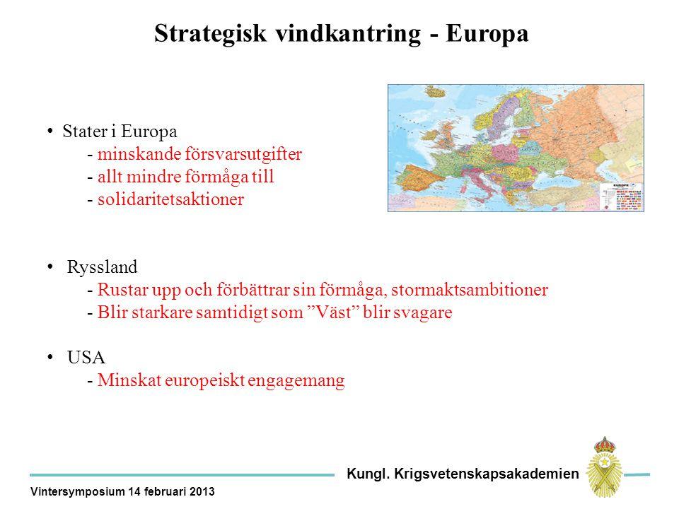 Strategisk vindkantring - Europa Stater i Europa - minskande försvarsutgifter - allt mindre förmåga till - solidaritetsaktioner Ryssland - Rustar upp och förbättrar sin förmåga, stormaktsambitioner - Blir starkare samtidigt som Väst blir svagare USA - Minskat europeiskt engagemang Kungl.