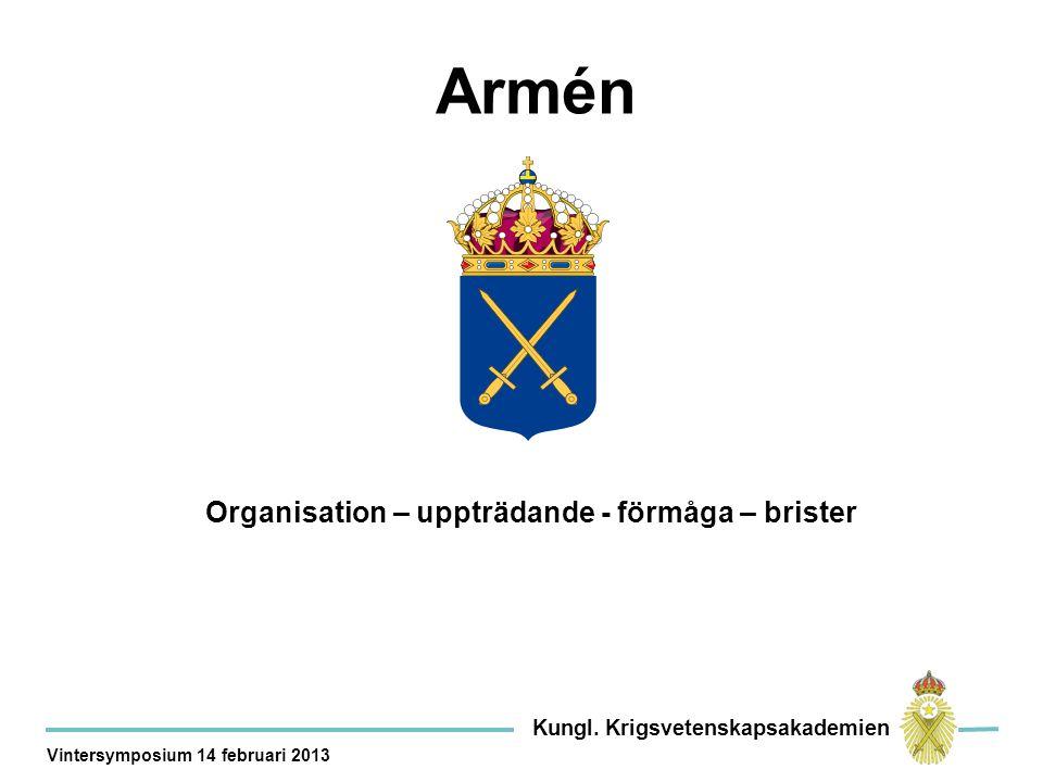 Organisation – uppträdande - förmåga – brister Armén Kungl.