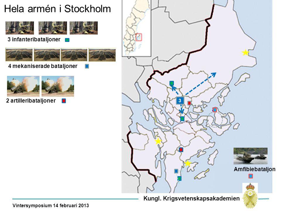 Hela armén i Stockholm 2 artilleribataljoner 4 mekaniserade bataljoner 3 infanteribataljoner Amfibiebataljon 3 Kungl.