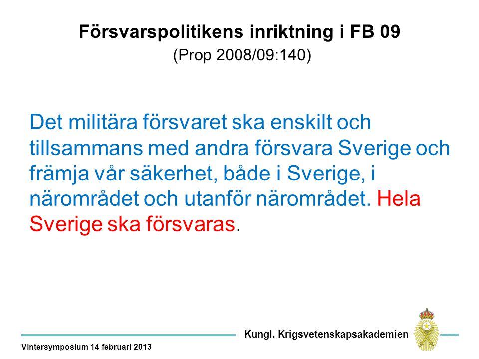 Försvarsmakten bör … enskilt och tillsammans med andra myndigheter, länder och organisationer… − försvara Sverige och främja vår säkerhet genom insatser på vårt eget territorium, i närområdet och utanför närområdet, − upptäcka och avvisa kränkningar av det svenska territoriet och i enlighet med internationell rätt värna suveräna rättigheter och nationella intressen i områden utanför detta − med befintlig förmåga och resurser bistå det övriga samhället och andra myndigheter vid behov.