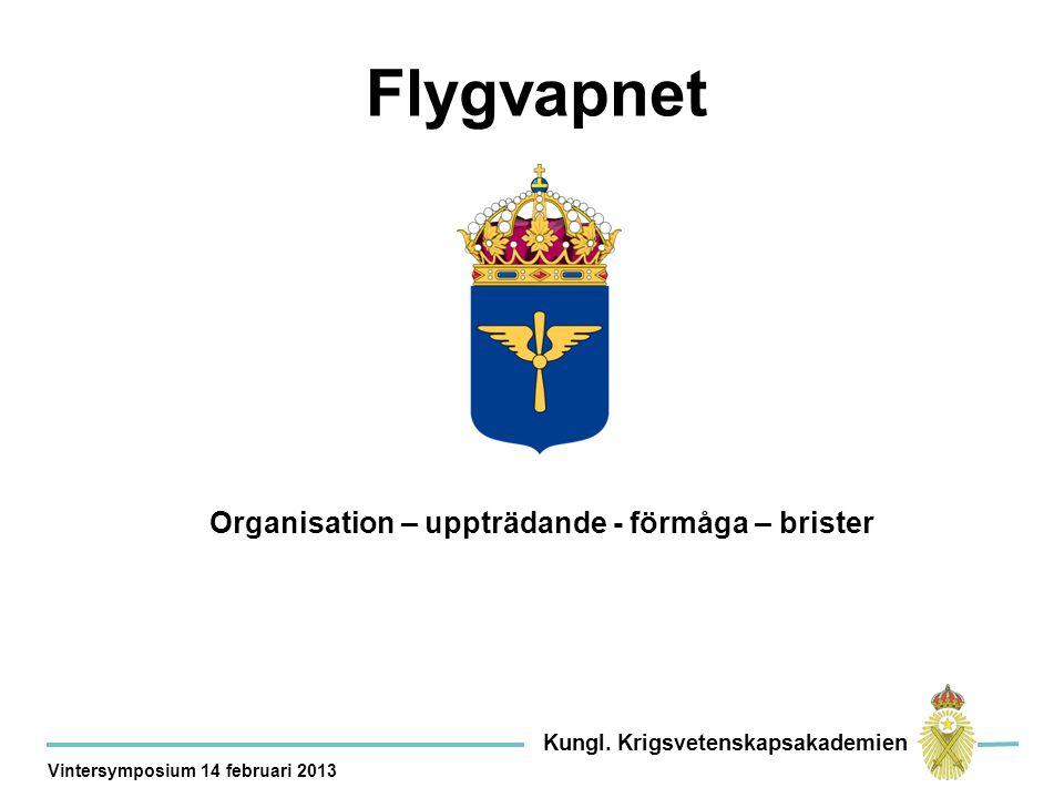Organisation – uppträdande - förmåga – brister Flygvapnet Kungl.