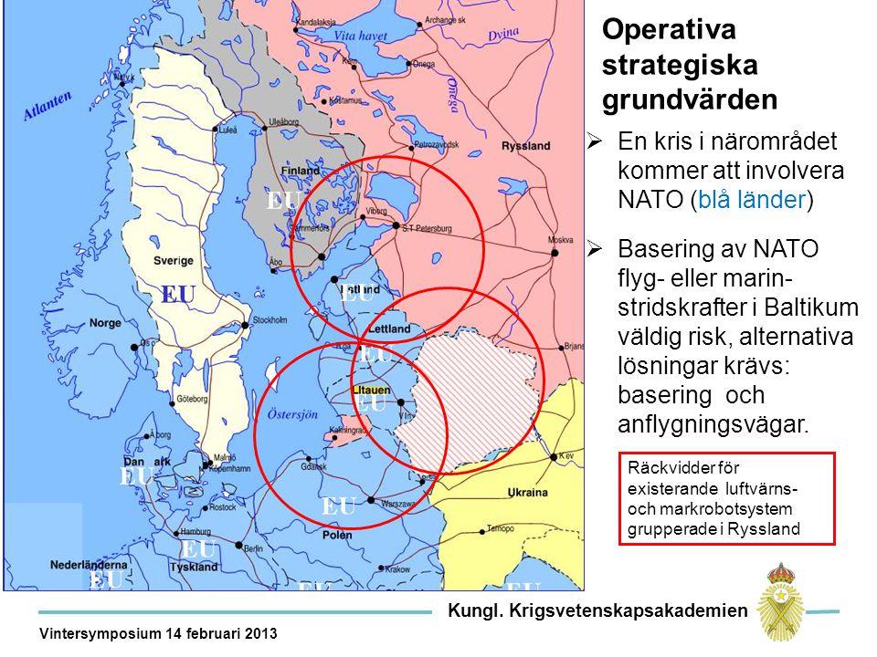 Operativa strategiska grundvärden  En kris i närområdet kommer att involvera NATO (blå länder)  Basering av NATO flyg- eller marin- stridskrafter i Baltikum väldig risk, alternativa lösningar krävs: basering och anflygningsvägar.