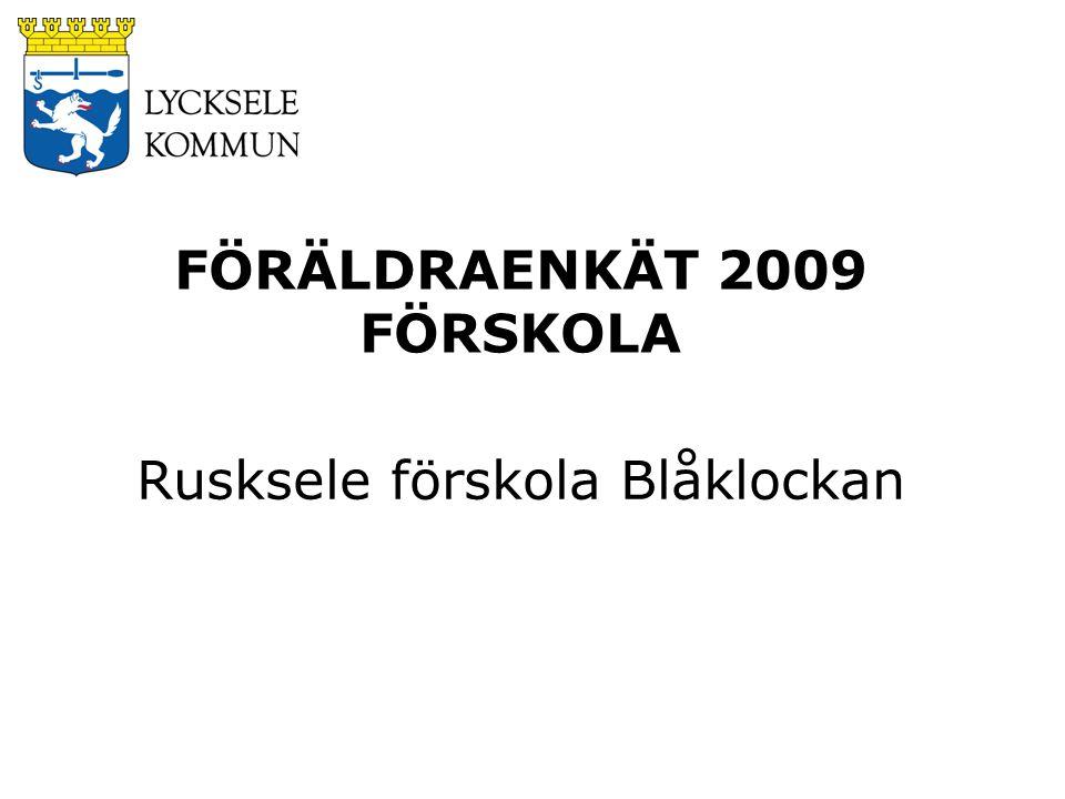 FÖRÄLDRAENKÄT 2009 FÖRSKOLA Rusksele förskola Blåklockan