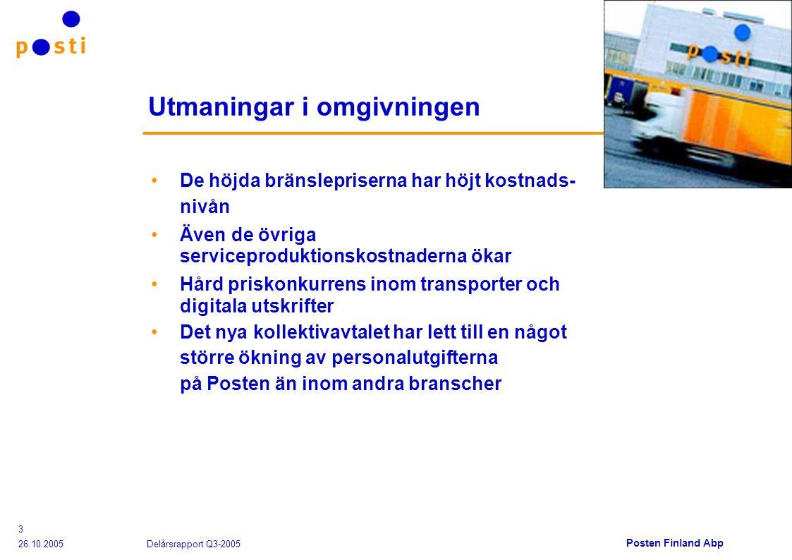 Posten Finland Abp 26.10.2005 Delårsrapport Q3-2005 3 Utmaningar i omgivningen De höjda bränslepriserna har höjt kostnads- nivån Även de övriga serviceproduktionskostnaderna ökar Hård priskonkurrens inom transporter och digitala utskrifter Det nya kollektivavtalet har lett till en något större ökning av personalutgifterna på Posten än inom andra branscher