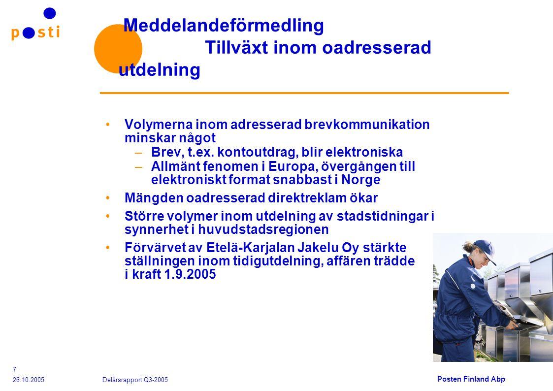 Posten Finland Abp 26.10.2005 Delårsrapport Q3-2005 7 Meddelandeförmedling Tillväxt inom oadresserad utdelning Volymerna inom adresserad brevkommunikation minskar något –Brev, t.ex.