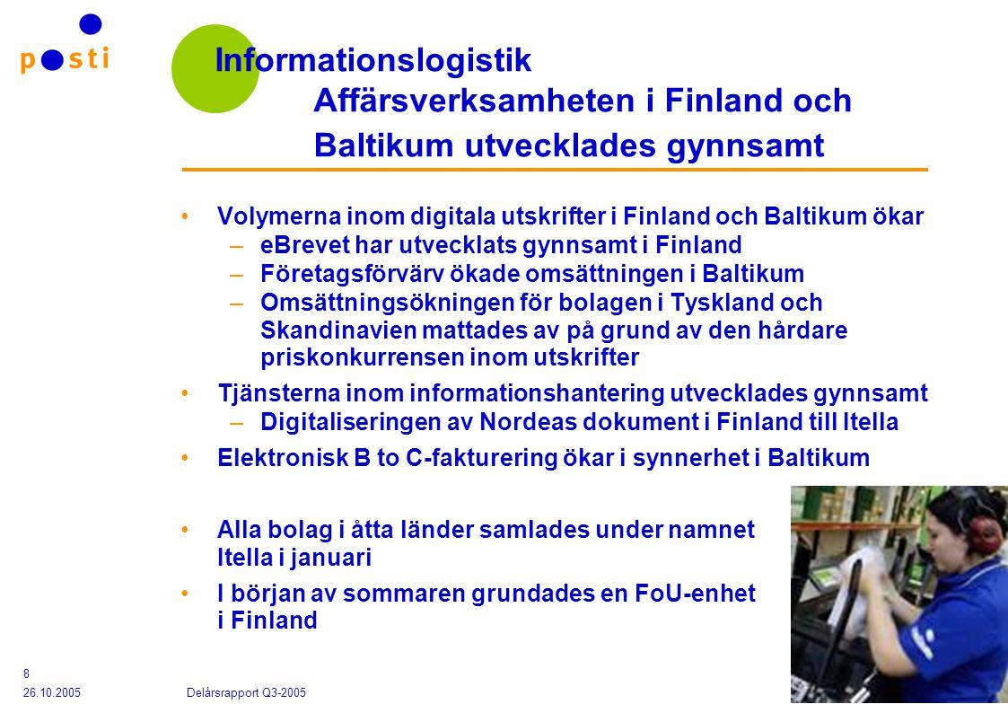 Posten Finland Abp 26.10.2005 Delårsrapport Q3-2005 8 Informationslogistik Affärsverksamheten i Finland och Baltikum utvecklades gynnsamt Volymerna inom digitala utskrifter i Finland och Baltikum ökar –eBrevet har utvecklats gynnsamt i Finland –Företagsförvärv ökade omsättningen i Baltikum –Omsättningsökningen för bolagen i Tyskland och Skandinavien mattades av på grund av den hårdare priskonkurrensen inom utskrifter Tjänsterna inom informationshantering utvecklades gynnsamt –Digitaliseringen av Nordeas dokument i Finland till Itella Elektronisk B to C-fakturering ökar i synnerhet i Baltikum Alla bolag i åtta länder samlades under namnet Itella i januari I början av sommaren grundades en FoU-enhet i Finland