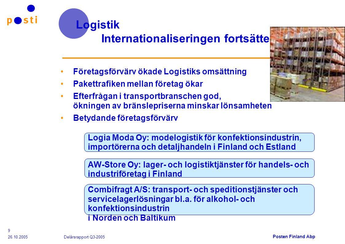 Posten Finland Abp 26.10.2005 Delårsrapport Q3-2005 9 Logistik Internationaliseringen fortsätter Företagsförvärv ökade Logistiks omsättning Pakettrafiken mellan företag ökar Efterfrågan i transportbranschen god, ökningen av bränslepriserna minskar lönsamheten Betydande företagsförvärv Logia Moda Oy: modelogistik för konfektionsindustrin, importörerna och detaljhandeln i Finland och Estland AW-Store Oy: lager- och logistiktjänster för handels- och industriföretag i Finland Combifragt A/S: transport- och speditionstjänster och servicelagerlösningar bl.a.