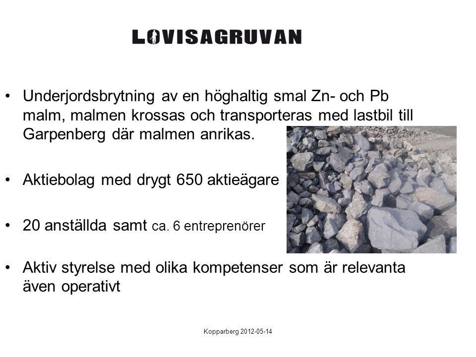 Kopparberg 2012-05-14 Underjordsbrytning av en höghaltig smal Zn- och Pb malm, malmen krossas och transporteras med lastbil till Garpenberg där malmen
