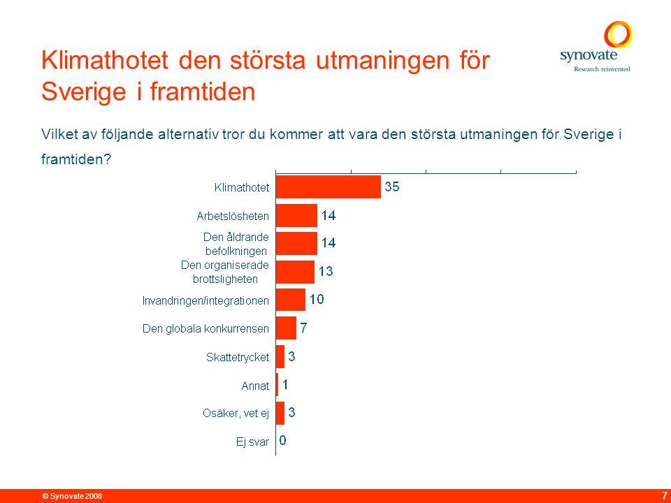 © Synovate 2008 7 Klimathotet den största utmaningen för Sverige i framtiden Vilket av följande alternativ tror du kommer att vara den största utmaningen för Sverige i framtiden