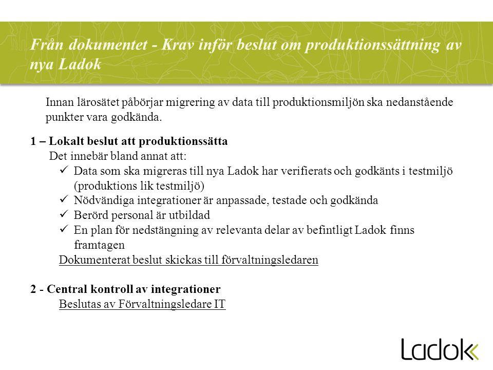 Från dokumentet - Krav inför beslut om produktionssättning av nya Ladok Innan lärosätet påbörjar migrering av data till produktionsmiljön ska nedanstå