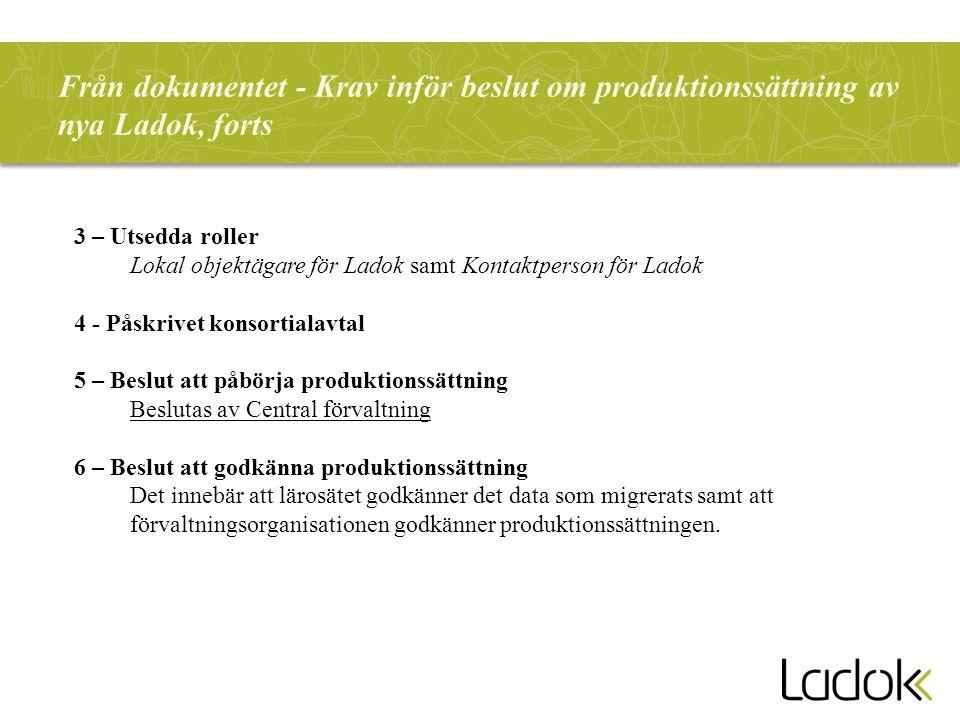 Från dokumentet - Krav inför beslut om produktionssättning av nya Ladok, forts 3 – Utsedda roller Lokal objektägare för Ladok samt Kontaktperson för L