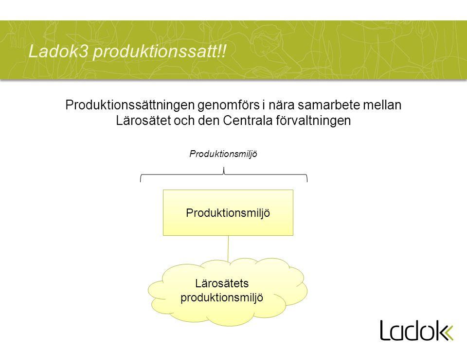 Ladok3 produktionssatt!! Produktionsmiljö Lärosätets produktionsmiljö Produktionsmiljö Produktionssättningen genomförs i nära samarbete mellan Lärosät