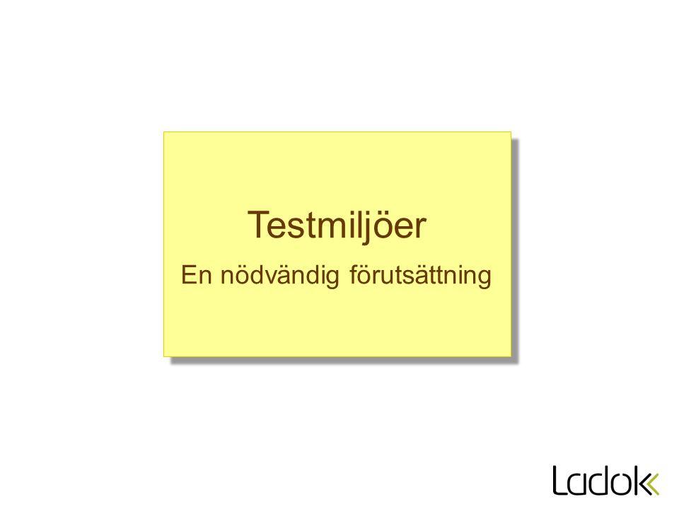 Testmiljöer En nödvändig förutsättning Testmiljöer En nödvändig förutsättning