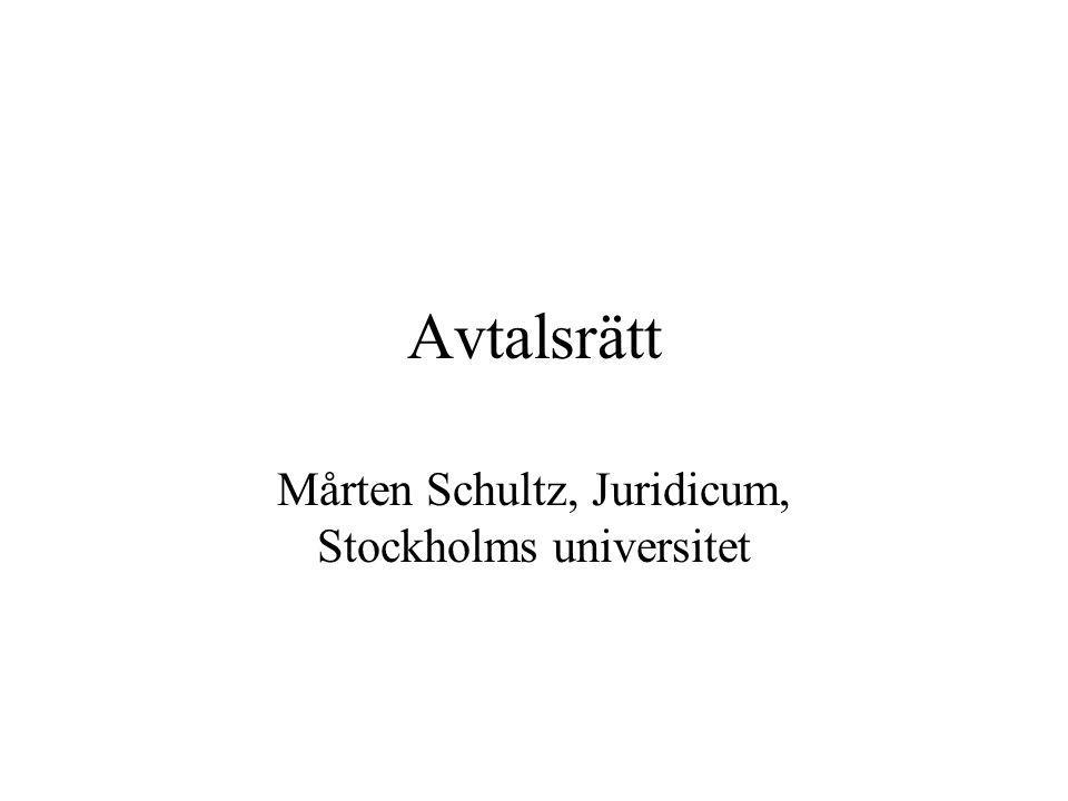 Avtalsrätt Mårten Schultz, Juridicum, Stockholms universitet