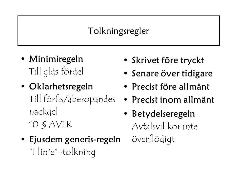 """Minimiregeln Till glds fördel Oklarhetsregeln Till förf:s/åberopandes nackdel 10 § AVLK Ejusdem generis-regeln """"I linje""""-tolkning Skrivet före tryckt"""