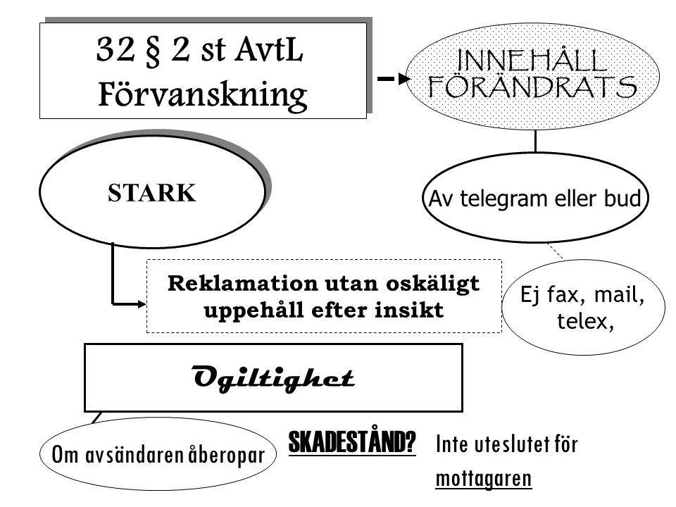 INNEHÅLL FÖRÄNDRATS 32 § 2 st AvtL Förvanskning 32 § 2 st AvtL Förvanskning STARK Reklamation utan oskäligt uppehåll efter insikt Av telegram eller bud Ej fax, mail, telex, Ogiltighet Om avsändaren åberopar SKADESTÅND.